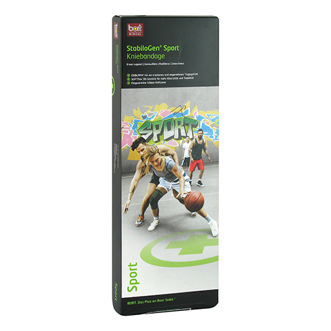 BORT StabiloGen Sport Knieband.M schwarz/grün 1 Stück