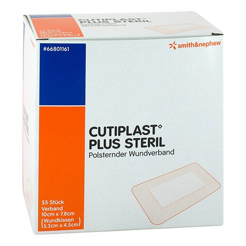 CUTIPLAST Plus steril 7,8x10 cm Verband 55 Stück