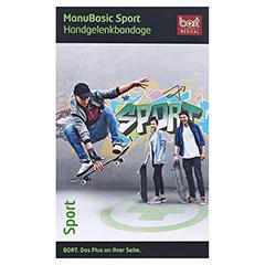 BORT ManuBasic Sport Bandage re.L schw./grün 1 Stück - Vorderseite