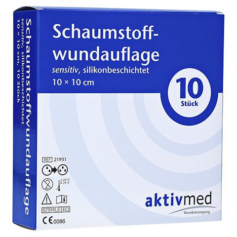 AKTIVMED Schaumst.Wundaufl.sens.silikonb.10x10cm 10 Stück