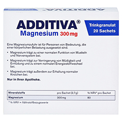 ADDITIVA Magnesium 300 mg N Pulver 20 Stück - Rückseite