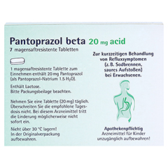 Pantoprazol beta 20mg acid 7 Stück - Rückseite