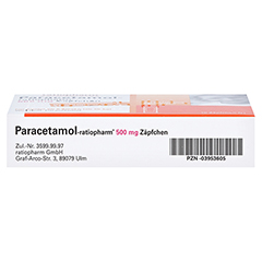 Paracetamol-ratiopharm 500mg 10 Stück N1 - Unterseite