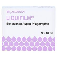 LIQUIFILM Benetzende Augen Pflegetropfen 3x10 Milliliter - Vorderseite
