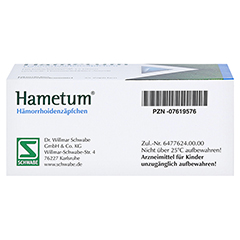 Hametum Hämorrhoidenzäpfchen 25 Stück N2 - Unterseite