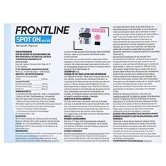 FRONTLINE Spot on K Lösung für Katzen 6 Stück - Rückseite