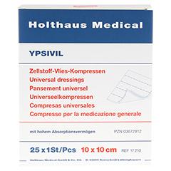 ZELLSTOFF VLIES KOMPRESSEN Ypsivil 10x10 cm steril 25x1 Stück - Vorderseite