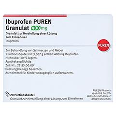 Ibuprofen PUREN 400mg 20 Stück - Rückseite
