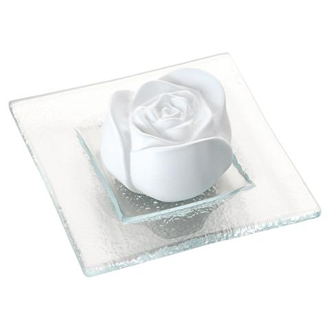 PRIMAVERA Duftstein Rosenblüte Glasteller transparent 1 Stück