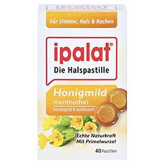 Ipalat Halspastillen Honigmild ohne Menthol zuckerfrei 40 Stück - Vorderseite