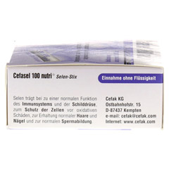 CEFASEL 100 nutri Selen Stix Pellets 20 Stück - Oberseite