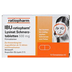 IBU-ratiopharm Lysinat Schmerztabletten 500mg 10 Stück N1 - Vorderseite