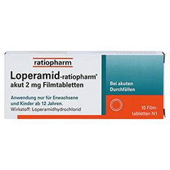 Loperamid-ratiopharm akut 2mg 10 Stück N1 - Vorderseite
