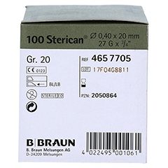 STERICAN Kanülen Luer-Lok 0,40x20 mm Gr.20 grau 100 Stück - Linke Seite