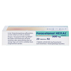 Paracetamol 500mg HEXAL bei Fieber und Schmerzen 20 Stück N2 - Unterseite