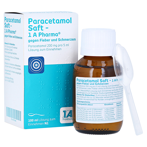 Paracetamol Saft-1A Pharma gegen Fieber und Schmerzen 100 Milliliter N1