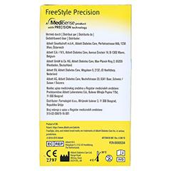Freestyle Precision Blutzucker Teststreifen ohne Codieren 50 Stück - Rückseite