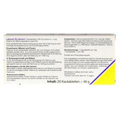 CALCIUM D3 biomo Kautabletten 500+D 20 Stück - Rückseite