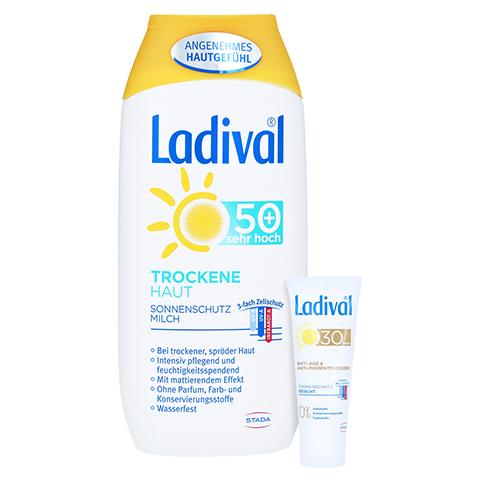 LADIVAL trockene Haut Milch LSF 50+ + gratis Ladival Anti-Pigment Creme LSF 30 (5 ml) 200 Milliliter