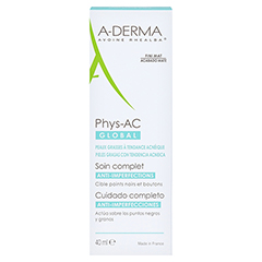 A-DERMA Phys-AC GLOBAL Pflegecreme 40 Milliliter - Rückseite