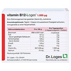 VITAMIN B12-LOGES 1.000 µg Kapseln 120 Stück - Rückseite