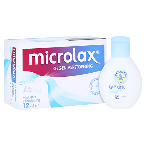 Microlax Rektallösung + gratis Penaten Pflegelotion 40 ml 12x5 Milliliter
