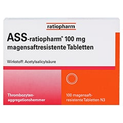 ASS-ratiopharm 100mg 100 Stück N3 - Vorderseite