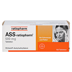 ASS-ratiopharm 500mg 100 Stück - Vorderseite