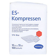 ES-KOMPRESSEN unsteril 10x10 cm 8fach 100 Stück - Rechte Seite