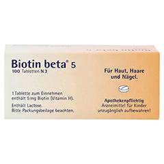 BIOTIN BETA 5 Tabletten 100 Stück N3 - Rückseite
