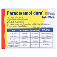 Paracetamol dura 500mg 20 Stück N2 - Rückseite