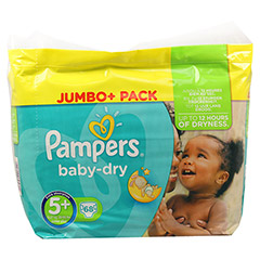 PAMPERS Baby Dry Gr.5+ junior plus 13-25kg Jumbo 68 St�ck - Vorderseite