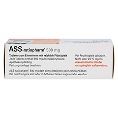 ASS-ratiopharm 500mg 50 Stück N3 - Oberseite
