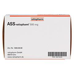 ASS-ratiopharm 500mg 100 Stück - Unterseite