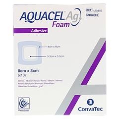 AQUACEL Ag Foam adhäsiv 8x8 cm Verband 10 Stück - Vorderseite