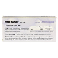 Cefasel 100 Nutri Selen-Tabs 60 Stück - Rückseite