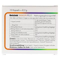 UNIZINK Immun Plus Kapseln 1x10 Stück - Rückseite