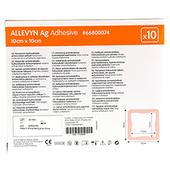 ALLEVYN Ag Adhesive 10x10 cm Wundverband 10 Stück - Rückseite
