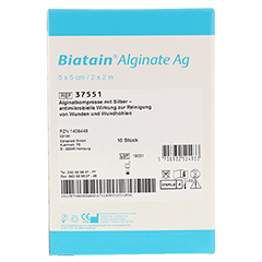 BIATAIN Alginate Ag Kompressen 5x5 cm mit Silber 10 Stück - Rückseite