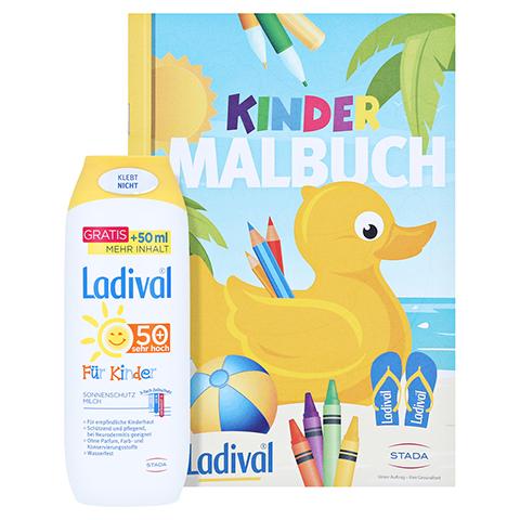 LADIVAL Kinder Sonnenmilch LSF 50+ + gratis Ladival Malheft 250 Milliliter