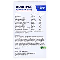 ADDITIVA Magnesium 375 mg+Vitamin B-Komplex+Vit.C 20x6 Gramm - Rückseite