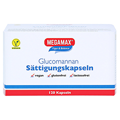 MEGAMAX Sättigungskapseln Glucomannan 120 Stück - Vorderseite