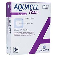 AQUACEL Foam adhäsiv 10x10 cm Verband 10 Stück