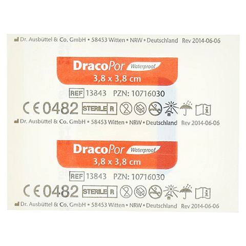DRACOPOR waterproof Wundverband 3,8x3,8 cm steril 1 Stück