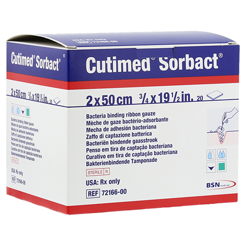 CUTIMED Sorbact Tamponaden 2x50 cm 20 Stück