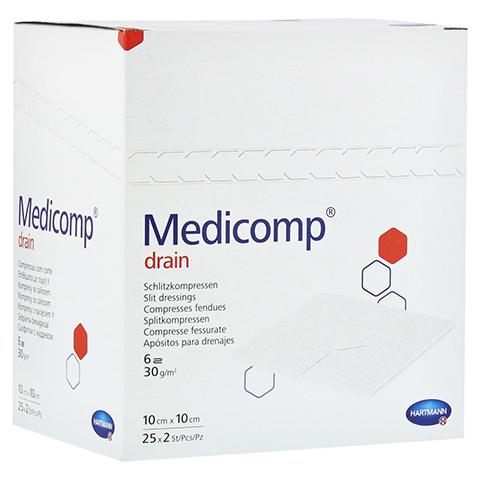 MEDICOMP Drain Kompressen 10x10 cm steril 25x2 Stück