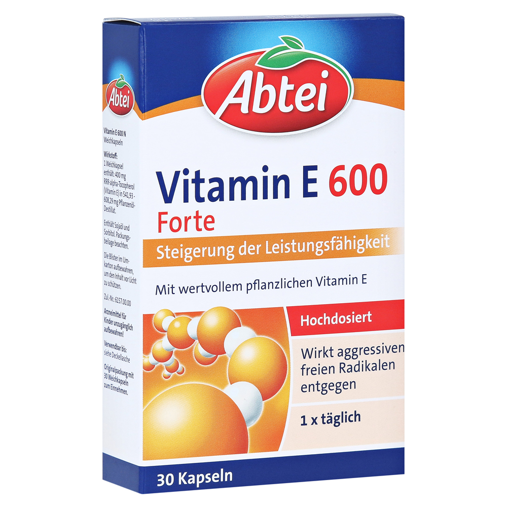 leistungssteigernd abtei vitamin e 600 forte plus 30 st ck erfahrung medpex versandapotheke. Black Bedroom Furniture Sets. Home Design Ideas