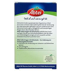 ABTEI Fettverdauung Aktiv (Galle-Dragee mit Artischocke) 40 Stück - Rückseite