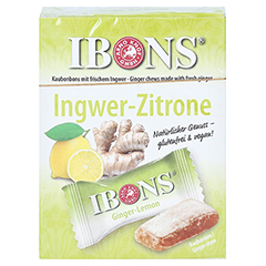 Ibons Zitrone Ingwerkaubonbons Schachtel 60 Gramm - Vorderseite