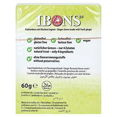 Ibons Zitrone Ingwerkaubonbons Schachtel 60 Gramm - Rückseite